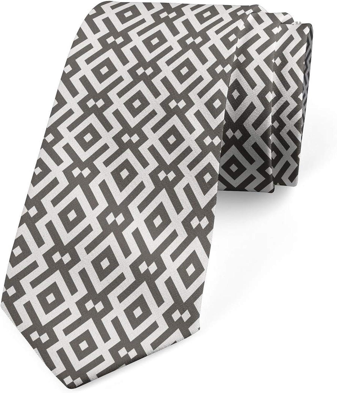 Ambesonne Men's Tie, Geometric Lines, Necktie, 3.7