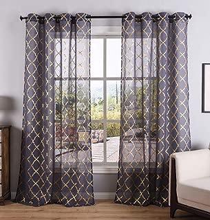 Kotile Gold Moroccan Tile Sheer Curtains 84 Inch for Bedroom/Living Room Window Grommet Top Drapes, W52 x L84, Set of 2 Panels, Dark Grey