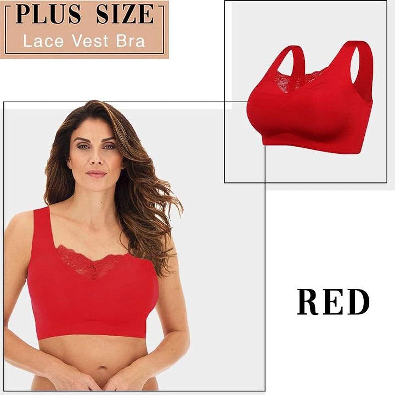 Plus Size Seamless Wirefree Bra for Women, Soft Lace Trim Gathers Push Up Bra Leisure Sports Yoga Everyday Bra
