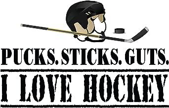 4 All Times Pucks Sticks Guts I Love Hockey Automotive Car Decal for Cars, Trucks, Laptops (12.0