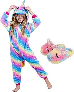 Pijama de unicornio para niñas con zapatillas de unicornio