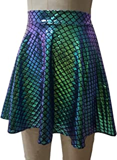 Pinda Rave Outfits Summer Holographic High Waisted Flare Skater Skirt