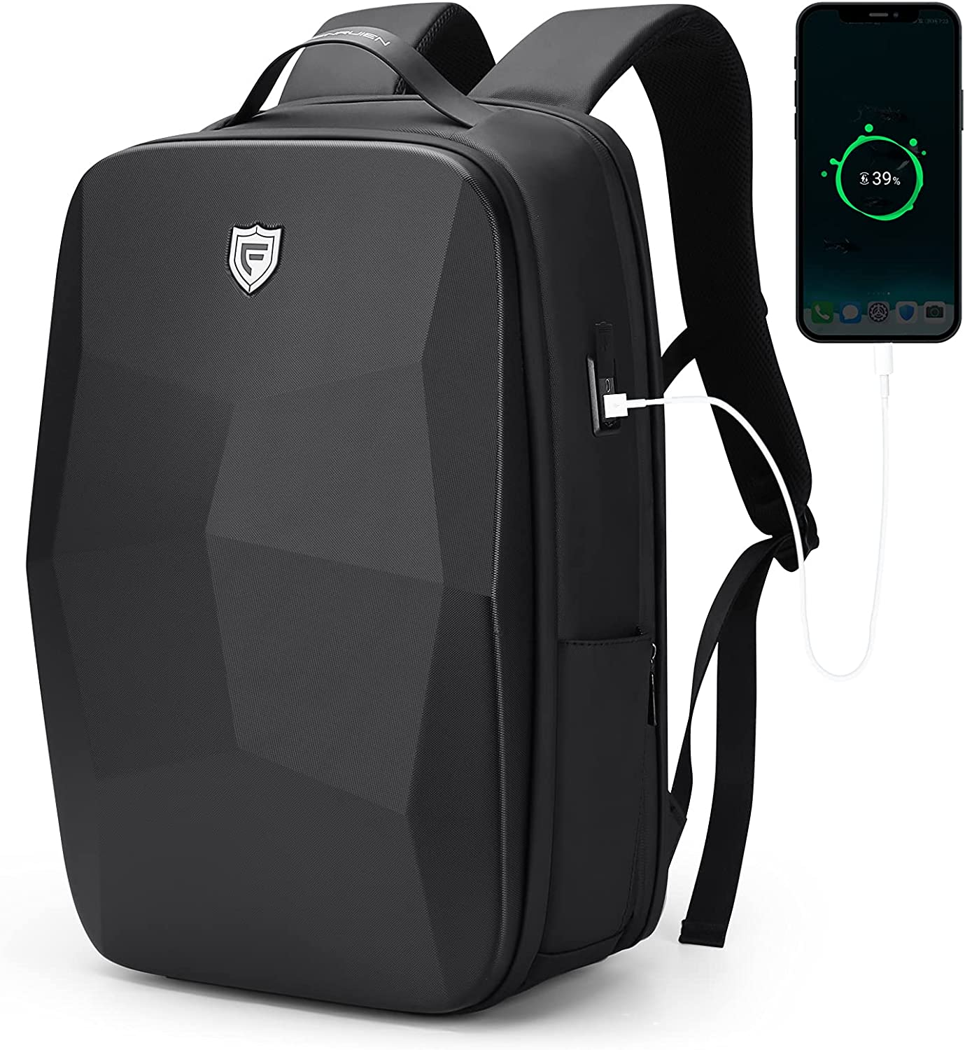 FENRUIEN Hard Shell Backpack 17.3 Inch Anti-theft Business Laptop Backpack for Men with TSA LockUSB Charging Port for College Trip Work Black