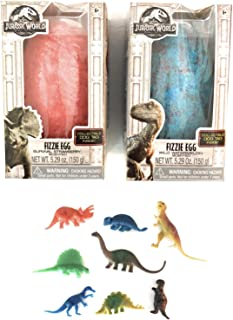 Instantly Inspired Jurassic World Dinosaur Bath Bombs Fizzing Surprise Egg Set with 8 Bonus Action Dinosaurs - with Red Strawberry & Blue Watermelon