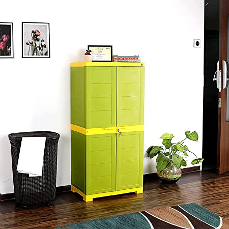 Cello Novelty Big Plastic 2 Door Cupboard with 3 Shelves (Green and Yellow)