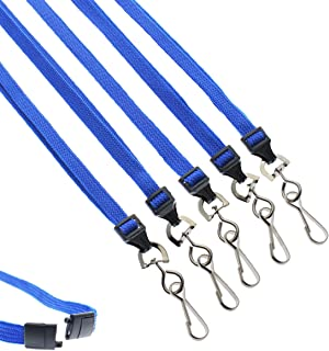 "25 Pack - Premium Breakaway Lanyards for ID Badges - Metal Swivel J Hook - 3/8"" Wide - 36 Inch Length - Flat Woven by Specialist ID (Royal Blue)"
