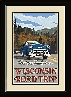 "Northwest Art Mall PAL-3969 MFGDM Wisconsin Road Trip Hills Framed Wall Art by Artist Paul A. Lanquist, 13"" x 16"", Satin B..."