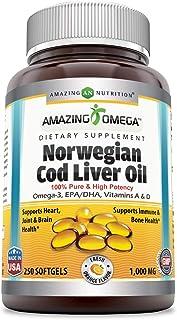 Sponsored Ad - Amazing Omega Norwegian Cod Liver Oil 1000 Mg, Softgels (Orange, 250 Softgels) (Non-Gmo,Gluten Free)