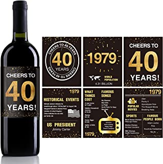 40th Birthday Anniversary Wine Bottle Labels or Stickers Present | 1979 Sign | 40th Anniversary Decorations | Funny Forty Black Gold Party Decoration Centerpiece Supplies. | Set of 12