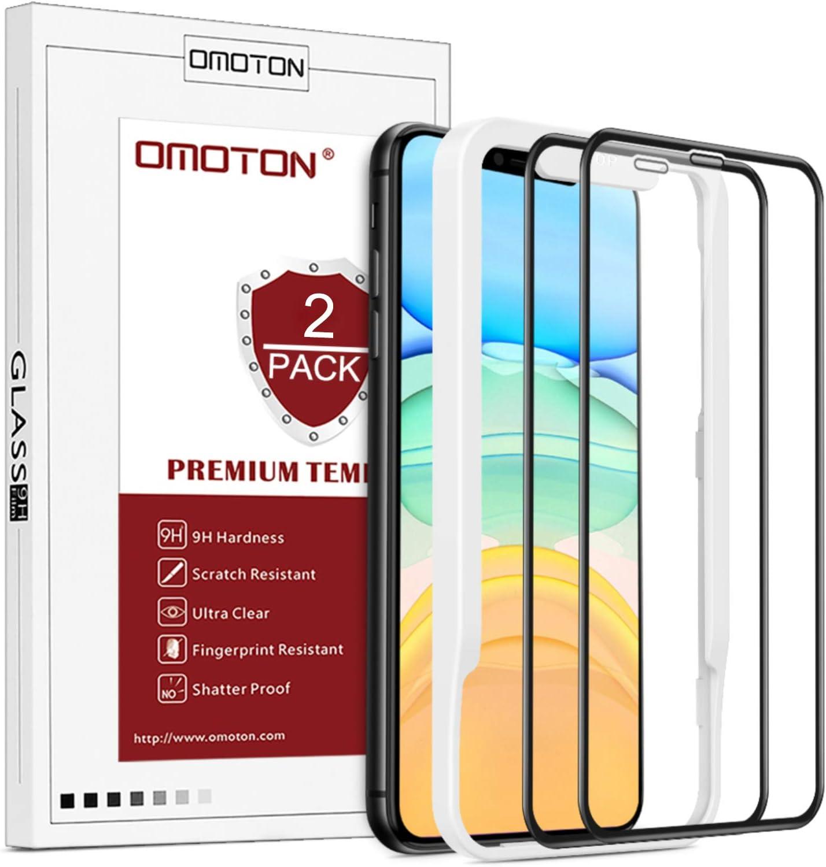 OMOTON Protector Pantalla iPhone 11/XR Cristal Templado iPhone 11/XR, Anti-Burbujas, Anti-despegamientos, Anti-arañazos, Cobertura Completa, Tecnología 3D, para 6.1 Pulgadas [2 Piezas]