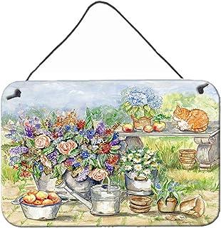 "Caroline's Treasures APH3567DS812 Patio Bouquet & Cat Wall Or Door Hanging Prints, 8"" x 12"", Multicolor"