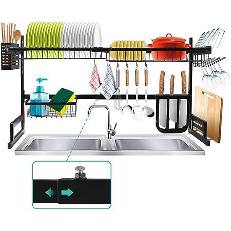 Égouttoir Vaisselle, Égouttoir Vaisselle Cuisine en Acier Inoxydable à 2 Niveaux pour Evier avec Longueur Réglable (20-38,6) Pouces, 8 Composants Détachable Interchangeables pour Comptoir de Cuisine