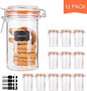 Glass Jars With Airtight Lids,Encheng 16 oz Glass Jars With Leak Proof Rubber Gasket,Wide Mouth Mason Jars With Hinged Lids For Kitchen Canisters,Glass Storage Containers 12 Pack