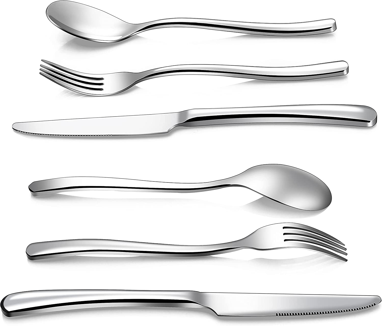 Alaxdtvio Stainless Steel Flatware Set of Max 44% OFF Max 40% OFF 32 Pieces Silv Modern