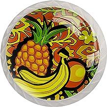 Lade Handgrepen Kabinet Knoppen Ronde Pack van 4 voor Kast, Lade, Borst, Dressoir etc, Ananas Banaan Kleurrijke