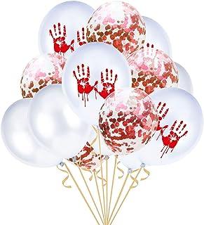 BinaryABC Halloween Latex Balloons Bloody Handprint Balloons Confetti Balloons,Halloween Party Decoration Supplies,15Pcs(W...