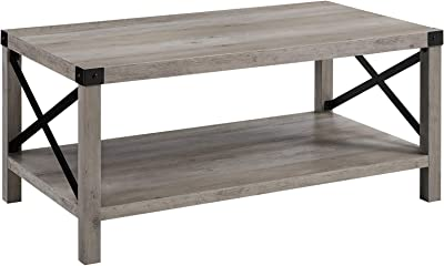 Walker Edison Furniture Company Rustic Modern Farmhouse Metal and Wood Rectangle Accent Coffee Table Living Room Ottoman Storage Shelf, Grey Wash