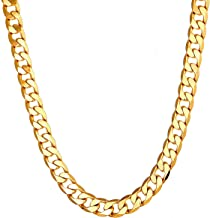 Followmoon 18K Gold Plated Link Cuban 7mm Necklace Chain Mens Jewelry For Men