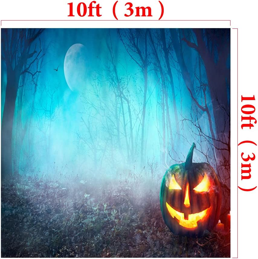 Kate10ft W H x6.5ft Halloween Photography Background Pumpkin Lantern Backdrop Night Moon with Trees Bird for Photographic Studio Props Cotton Cloth