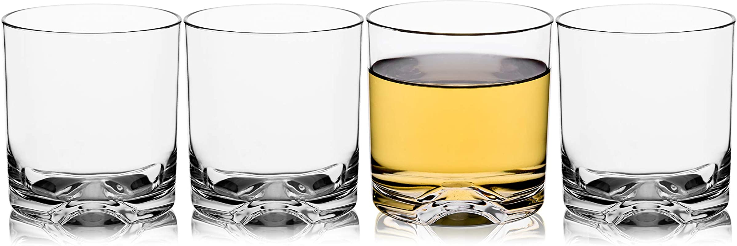 Unbreakable Tritan Plastic Whiskey Rocks Glasses Tumblers Double Old Fashioned Cups For Drinking Beer Cocktails Glassware 9 OZ Shatterproof BPA FREE Dishwasher Safe Set Of 4