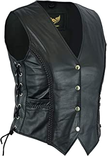 Ladies Real Cowhide Braided Biker Leather Waistcoat Black