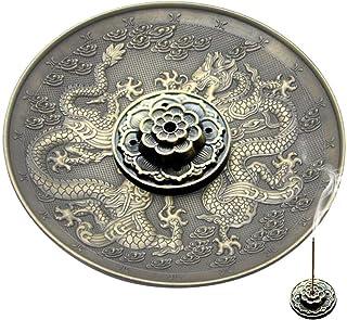 Soporte de Incienso Quemador de Incienso de Bronce Incensario Tallado de Dragón Phoenix Plato de Incienso Decoración de Hogar Fengshui(Marrón)