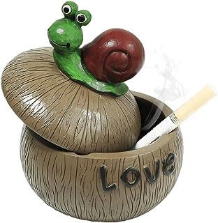 Cenicero para cigarrillos Cenicero creativo y pesado con tapa para el hogar, jardín y bar - Caracol