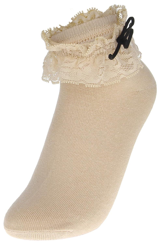 (ラボーグ)La Vogue ソックス 可愛い レース付き フリル 純色 リボン レディース ガールズ ショートソックス 3足セット 靴下 柔らか カーキ