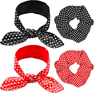 4 Pieces Headbands Vintage Retro Print Headbands Pin Up Girl Style Wire Adjustable Headband Paisley Print Headband for Women and Girls