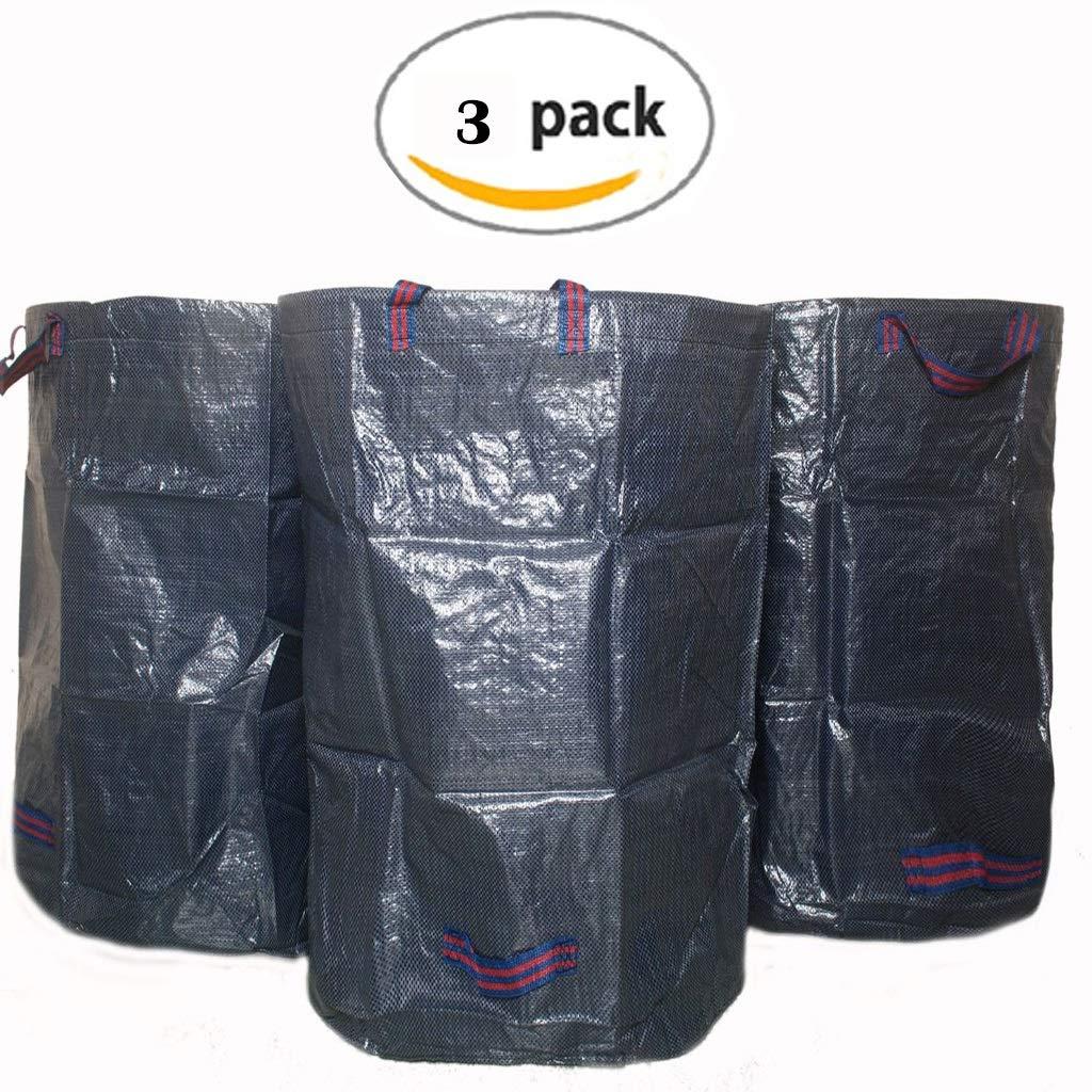 必須部分的に出演者YLIAN 庭のゴミ袋 葉コレクションバッグガーデンバッグガーデンゴミバッグガーデン収納バッグガーデンゴミ箱自立型と折りたたみ式引き裂き抵抗ハンドル付き(3パック)
