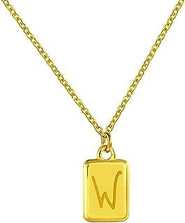 Jewanfix قلادة مربعة الأولية من الذهب عيار 14 قيراط مطلية بالحروف A إلى Z قلادة قلادة قلادة للرجال والنساء هدية عيد الحب