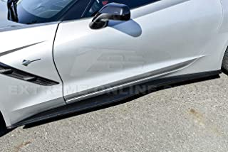Extreme Online Store EOS Z06 Z07 Style ABS Plastic Painted Carbon Flash Metallic Side Skirts Rocker Panel Extension for 2014-2019 Corvette C7 All Models