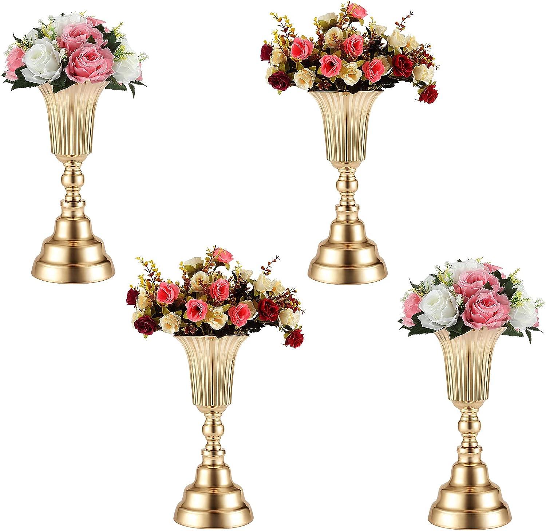 DUOBEIER 4 Pcs 13.98 inches Versatile Wedding Trumpet Flower Vase Centerpieces Metal Bouquet Holder Artificial Flower Arrangement Wedding Table Party Reception Dinner Event Hotel Home Decor(Gold)