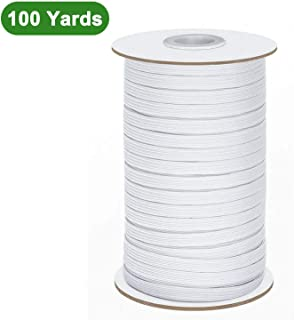 Elastic Band String 100 Yards 1/4 Inch Elastic String Rope Bungee Elastic Cord White - Elastic for Sewing