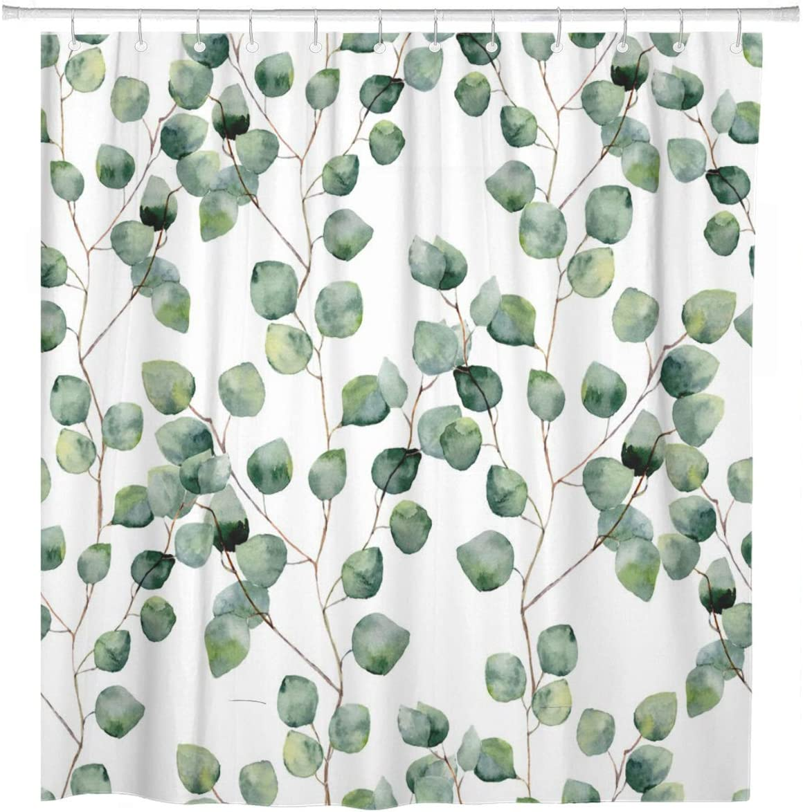 ArtSocket Award-winning store Shower Ranking integrated 1st place Curtain Watercolor Green Floral Roun Eucalyptus