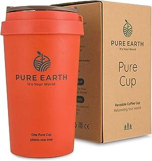 Pure Earth®   Vaso Termo de Café para Llevar Reutilizable   Taza de Café Térmica con Doble Pared a Prueba de Fugas   Mug de Viaje Sin Olor a Plástico   Ecológico 100% Reciclable de Cáscara de Arroz