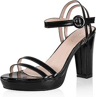 JSUN7 Women's Fashion Ankle Strap Round Toe Summer Platform Chunky Block High Heel Sandal Pump Shoe