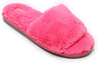Womens Open Toe Fluffy Fur Slippers Cozy Warm Flip Flop House Slippers Lightweight Classic Sandals Slides Soft Flat Slip On Spa Shoe Jennifer
