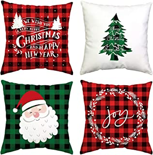 GTEXT 4 Pack Christmas Throw Pillow Cover Holiday Decor Buffalo Check Merry Christmas Pillow Cover Cuhion Cover Case for Couch Sofa Home Decoration Pillows Linen 18 X 18 Inches