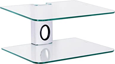 Gold Line 2 x Silver Floating Shelves with Strengthened Tempered Clear Glass for DVD Players/Cable Boxes/Games Consoles/TV Accessories