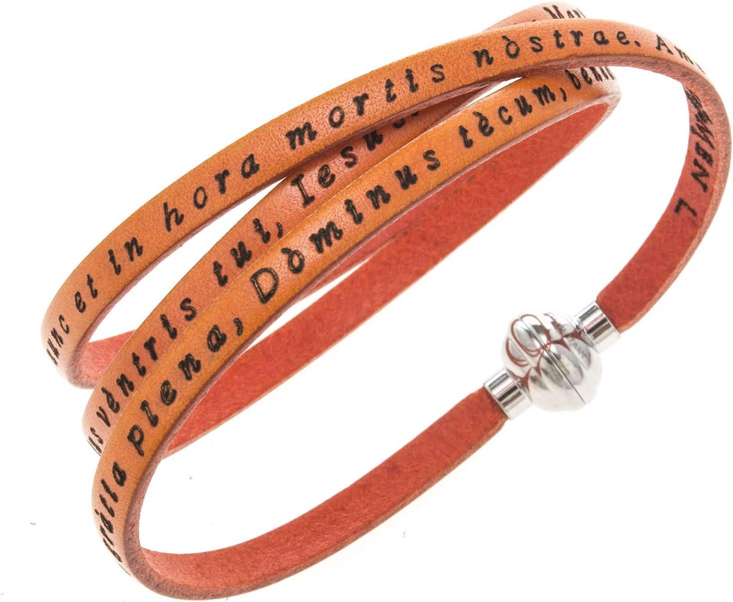 Very popular Amen Bracelet Max 54% OFF in Orange Leather Hail Mary inc. 60 LAT cm 23.64