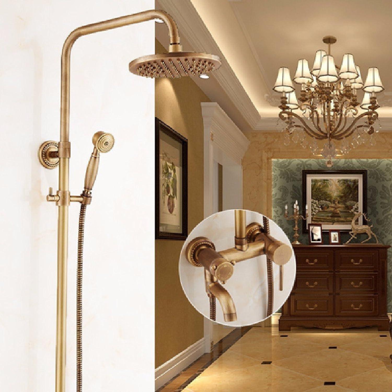 KHSKX European style antique shower, bathroom shower set, all copper retro shower, Penglian nozzle faucet, mixing valve,H