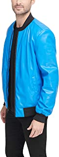 DKNY mens Faux Leather Bomber Jacket