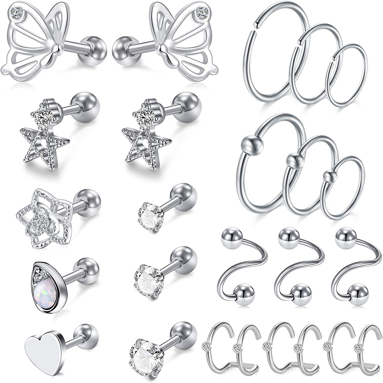 MODRSA 16g Cartilage Earring Stud Outlet SALE for Tragus Women Hoop Online limited product Ear