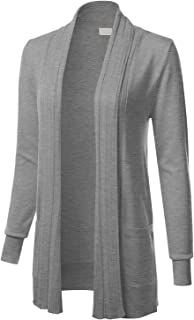 Women`s Long Sleeve Open Front Drape Ribbed Cardigan with Pockets (S-XL)