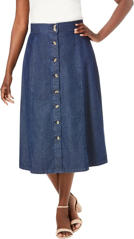 Jessica London Women's Plus Size Button-Front Jean Skirt