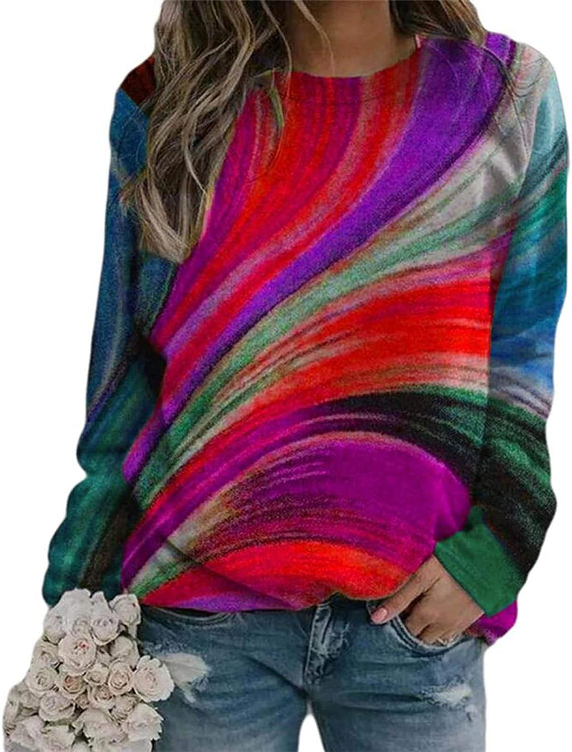 AODONG Sweater for Womens Fashion Long Sleeves Multicolor Sweatshirts Casual Pullover Sweat Shirt Blouse Tops