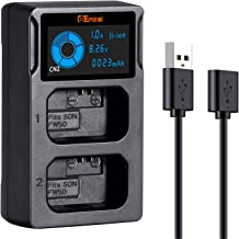 FW50 Battery Charger with USB Dual-Slot LCD Display for Sony NP-FW50 Battery and Sony Alpha A6500, A6300, A6000, A7s, A7, A7s ii, A7s, A5100, A5000, A7r, A7ii Digital Camera