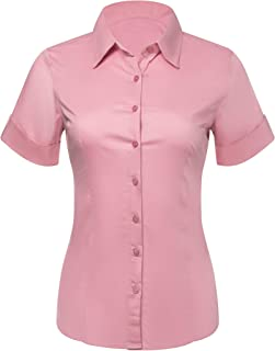 Pier 17 Button Down Shirts for Women, Fitted Short Sleeve Tailored Stretchy Material
