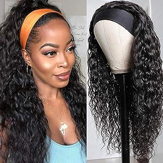 Headband Wig Human Hair Water Wave Headband Wigs Brazilian Virgin Hair Wet and Wavy Headband Wig Curly Human Hair Wigs for...